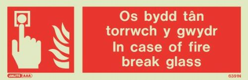(6391NR) Jalite Welsh / English - In case of fire break glass /  Os bydd tan torrwch y gwydr